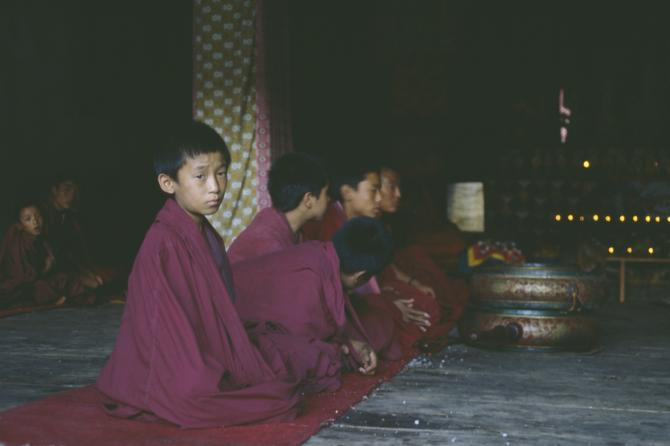 A novice in Punakha Dzong, 1992