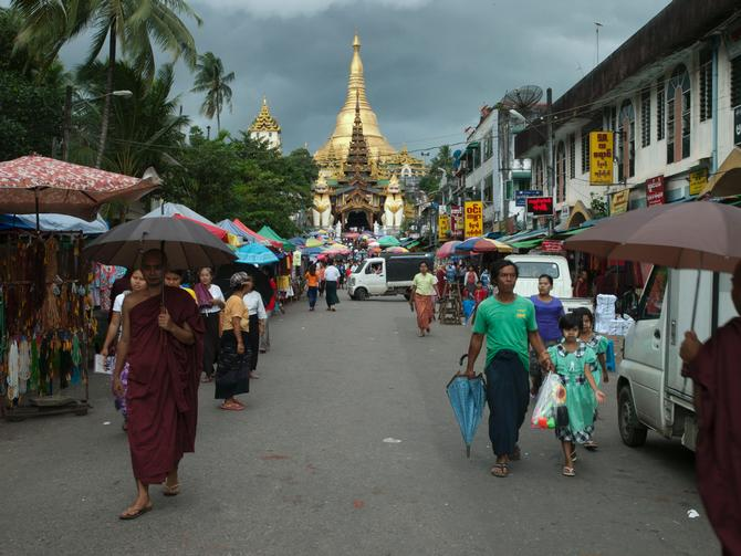 At the south entrance to Shwedagon Pagoda, 2014