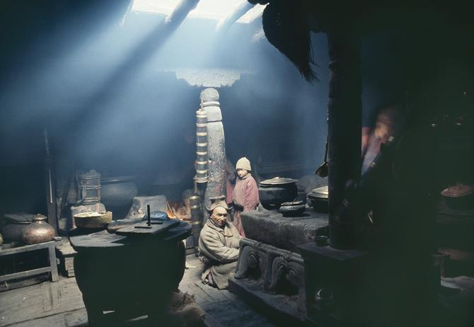 In the Kitchen at Ridzong Gompa, 1976