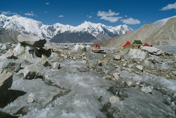Camp on Lolophond glacier, Siachen in background